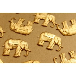 2 pc. Raw Brass Elephant with Saddles: 40.5mm by 26mm - made in USA | RB-625