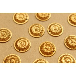 10 pc. Raw Brass Sunflower Disc Charms: 16mm in diameter - made in USA | RB-626