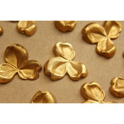 2 pc. Large Raw Brass Three Leaf Clovers: 30mm by 26mm - made in USA | RB-627