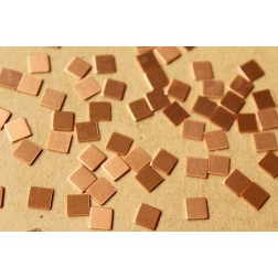 20 pc. Tiny Raw Copper Squares: 5mm by 5mm - made in USA | RB-628