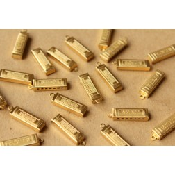 4 pc. Small Raw Brass Harmonicas: 23.5mm by 7.5mm by 3mm - made in USA | RB-631