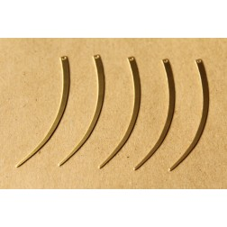 10 pc. Raw Brass Narrow Curved Dangles  - Left: 58mm by 3mm - made in USA | RB-633