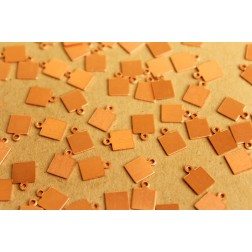 20 pc. Tiny Raw Copper Square Tags: 7mm by 9.5mm - made in USA   RB-642