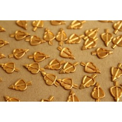 16 pc. Raw Brass Cupid's Hearts: 12mm by 6.5mm - made in USA | RB-643
