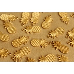 6 pc. Small Raw Brass Flat Pineapple Charms: 18mm by 10mm - made in USA | RB-644