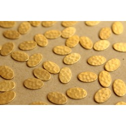 20 pc. Small Raw Brass Hammered Ovals: 10.5mm by 6.5mm - made in USA | RB-652