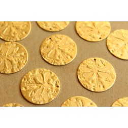 4 pc. Raw Brass Textured Dragonfly Fossil Disc Charms: 22mm in diameter - made in USA | RB-655