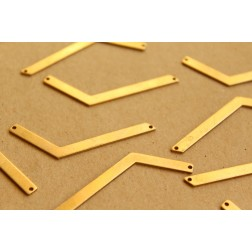 6 pc. Raw Brass Assymetrical Chevron Connectors - Left: 54mm by 4mm  - made in USA | RB-669