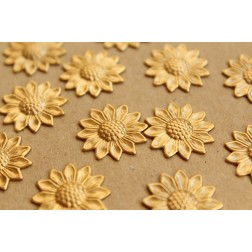 10 pc. Raw Brass Sunflowers: 19mm by 19mm - made in USA | RB-671