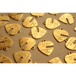 10 pc. Raw Brass Heart with Key Cut Out Charms: 16mm by 19mm - made in USA | RB-675
