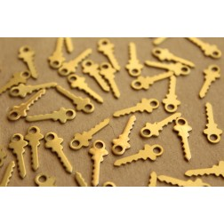 10 pc. Raw Brass Key Charms: 17mm by 6mm - made in USA | RB-676
