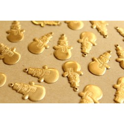 8 pc. Raw Brass Snowman Charms: 25.5mm by 13mm - made in USA | RB-679