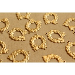 8 pc. Raw Brass Holiday Wreath Charms: 18mm by 23mm - made in USA | RB-680