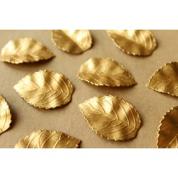 4 pc. Raw Brass Veined Leaves: 35mm by 24mm - made in USA - RB-698