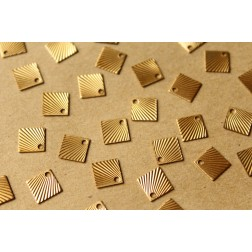12 pc. Raw Brass Diamond with Sunburst Design Charms: 11.5mm by 11.5mm - made in USA | RB-713