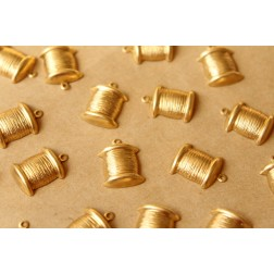 16 pc. Raw Brass Spool of Thread Charms, 18mm by 13mm - made in USA | RB-752