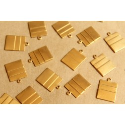 12 pc. Raw Brass Layered Rectangle Charms : 18mm by 13mm - made in USA | RB-799