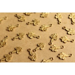 14 pc. Tiny Raw Brass Fleur de Lis Charms: 11.5mm by 6mm - made in USA | RB-810