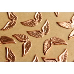 6 pc. Raw Copper Angel Wings: 29mm by 16mm - made in USA   RB-815