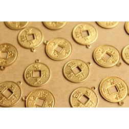 12 pc. Raw Brass Chinese Coin Charms: 17mm by 20mm - made in USA | RB-823