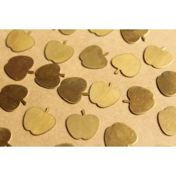 6 pc. Raw Brass Apple Blank Stampings: 16mm by 15.5mm - made in USA | RB-835