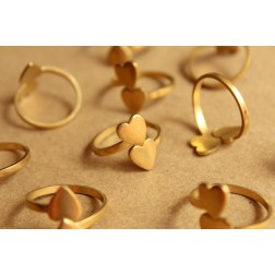 3 pc. Raw Brass Adjustable Rings with Heart-shaped Pads | RB-842