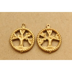 3 pc. Raw Brass Double Sided Tree of Life Charms: 24mm by 20mm - made in USA | RB-852