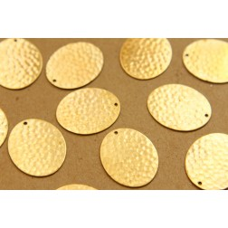6 pc. Raw Brass Hammered Ovals: 24 mm by 20mm - made in USA | RB-854