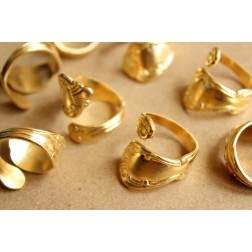 1 pc. Raw Brass Adjustable Spoon Rings - made in USA | RB-885