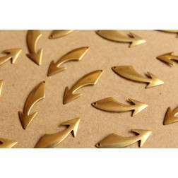 16 pc. Raw Brass Curved Arrow Charms - Right: 25mm by 8mm - made in USA | RB-898