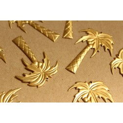 5 pc. Large Raw Brass Palm Charms: 48mm by 34mm - made in USA | RB-928