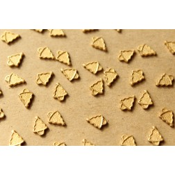 14 pc. Tiny Raw Brass Christmas Tree Stampings: 6mm by 8mm - made in USA | RB-938