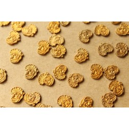 14 pc. Tiny Raw Brass Santa Head Stampings: 8mm by 7.5mm - made in USA | RB-940