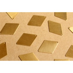 12 pc. Medium Raw Brass Diamond Charms: 30mm by 21.5mm - made in USA | RB-941