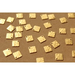 16 pc. Raw Brass Hammered Square Charms: 7.5mm by 7.5mm - made in USA | RB-946