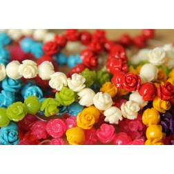 14 pc. Small Glossy Rose Beads 8mm | RES-413