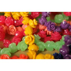 12 pc. Medium Glossy Rose Beads 11mm by 9mm | RES-414