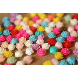 40 pc. Tiny Multi-Colored Flower Beads 6mm | RES-422