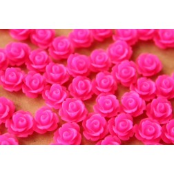 CLOSEOUT - 30 pc. Frosted Neon Pink Rose Cabochon 10mm | RES-451