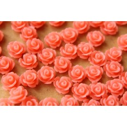30 pc. Frosted Watermelon Pink Rose Cabochon 10mm | RES-456
