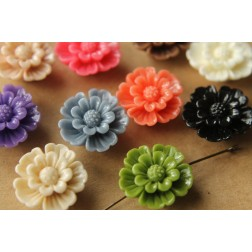 SALE - 10 pc. Large Glossy Flower Beads 20mm by 7mm | RES-465